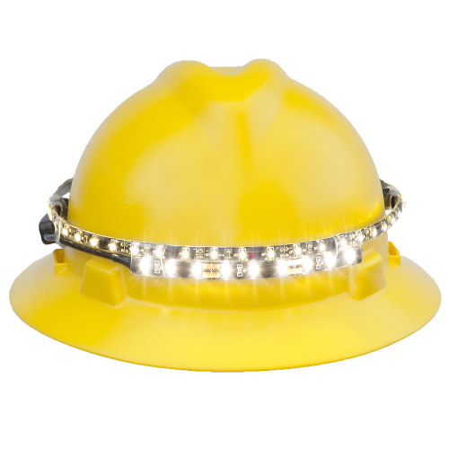 OrbitBeam LED hard hat safety light front view