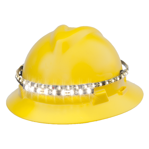 OrbitLight LED hard hat safety light front-left view